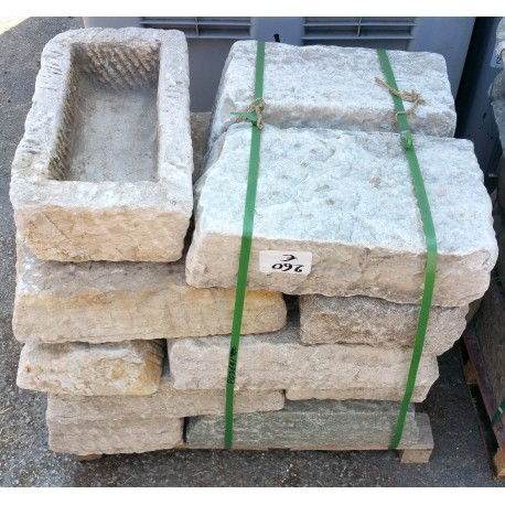 Ancient original stone trough manger rectangular