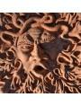 Grande Tondo mascherone in terracotta a foglie di quercia