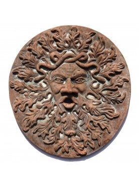 Large Round Mask with oak leaves Terracotta
