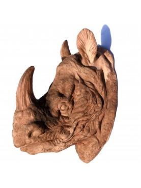 African Rhino head in terracotta