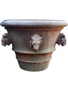 Tuscan Vase Ø80cms Impruneta flowerpot with lions heads