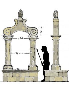 Pozzo monumentale in pietra calcarea a due colonne