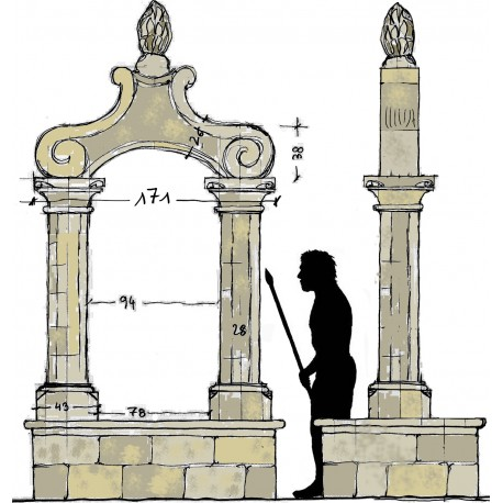 Monumental stone with two columns - limestone
