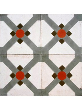 Cement tiles Geometric Design Red White Green
