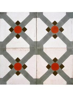 Cementine idrauliche Decorate Disegno Geometrico verde rosso bianco