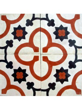 Cement Tiles with Decoration Red White Black