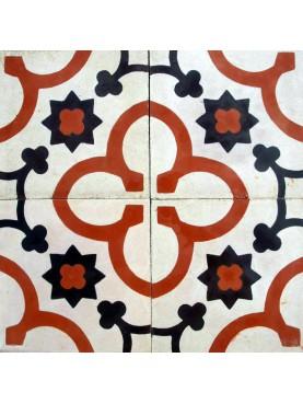 Cementine Idrauliche Decorate Bianco Rosso Nero