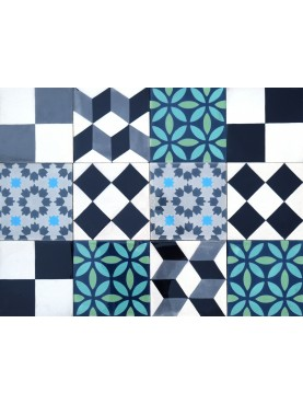Patchwork Cement Tiles Black White Blue