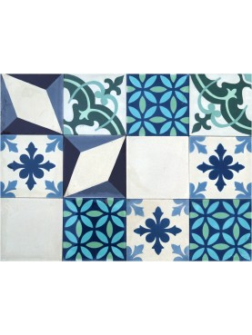 Patchwork Cement Tiles Blue Green Cream