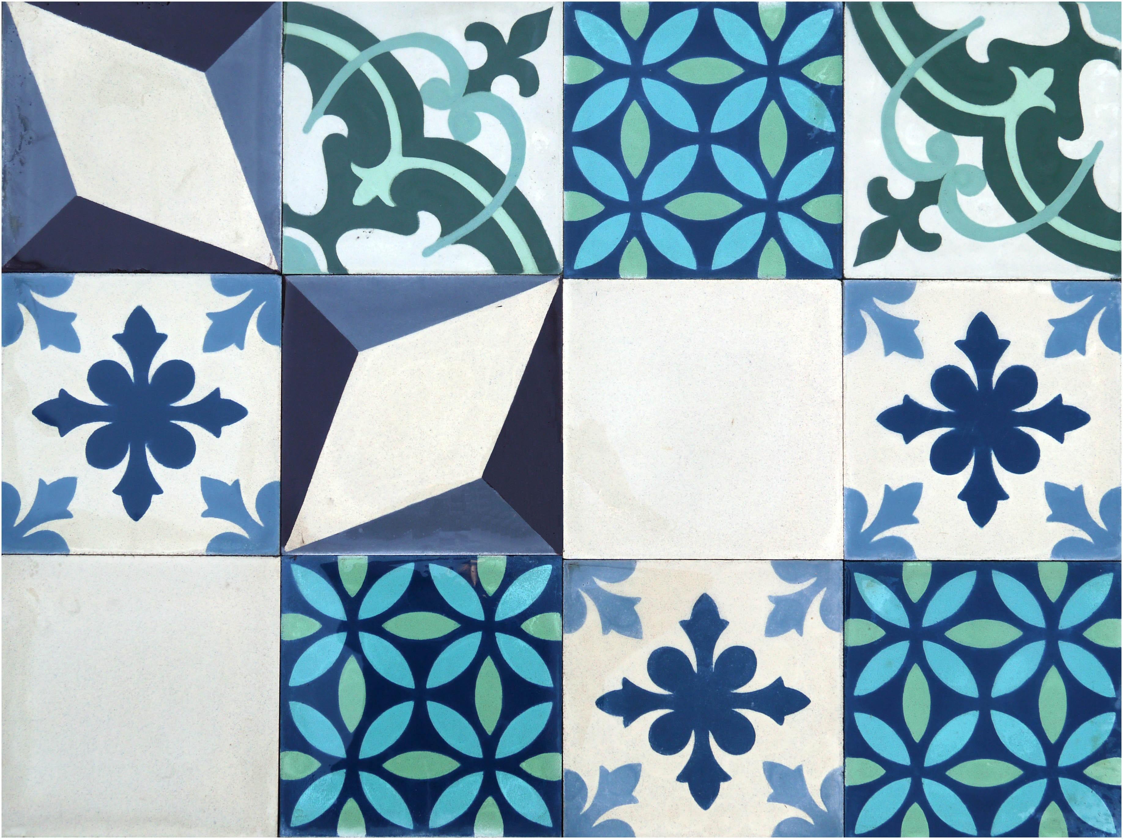 Patchwork cementine idrauliche azzurre verdi crema recuperando