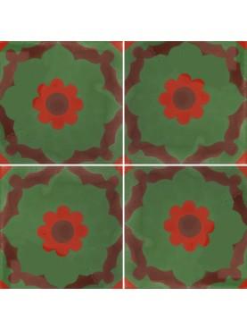 Cementine Idrauliche Decorate Sfondo Verde Fiore Rosso Marrone