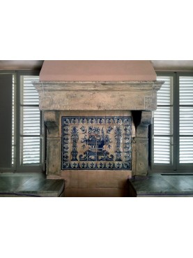 Limestone fireplace with Portuguese maiolica panel