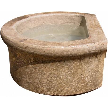 Enorme antico lavandino circolare in pietra