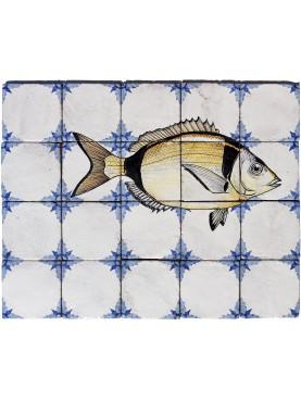 Pannello maiolica pesci Sarago fasciato 20 piastrelle