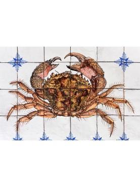 Mediterranean Crab majolica panel - 24 tiles