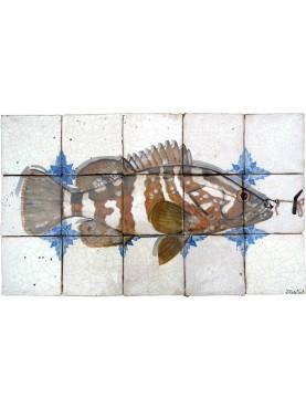 Cernia caraibica pannello maiolica 15 piastrelle