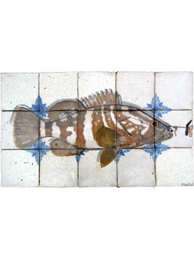 Nassau Grouper majolica tiles panel