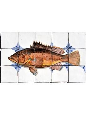 Cernia atlantica pannello maiolica pesci piastrelle