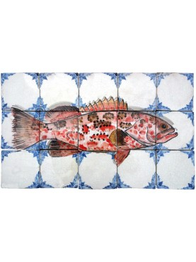 Red Grouper tiles majolica panel Bluespotted seabass