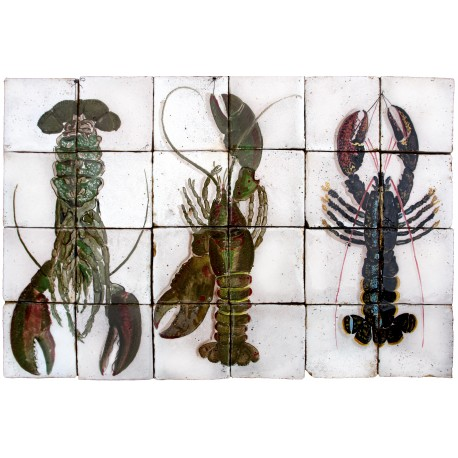 Three lobsters in a majolica panel