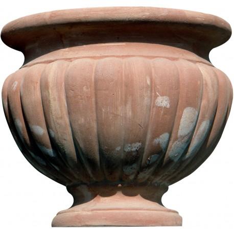 Cachepot baccellato in terracotta - coppa etrusca