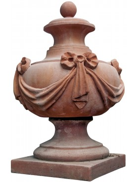 Vaso da pilastro globoso con festone - terracotta impruneta