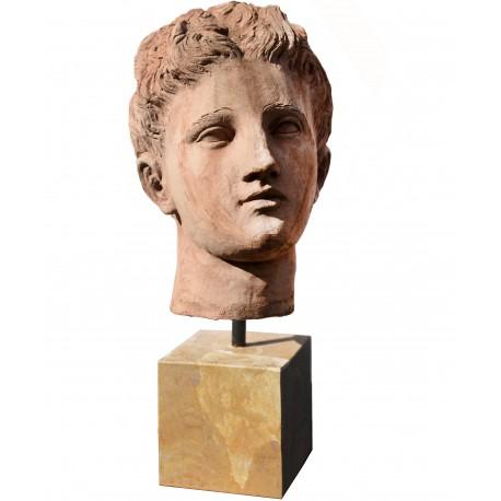 Testa di Apollo in terracotta - copia romana dei Musei Capitolini