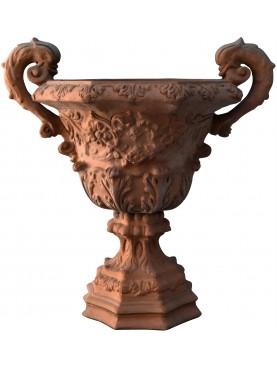 Vaso con festoni ornamentale in terracotta di Petroio