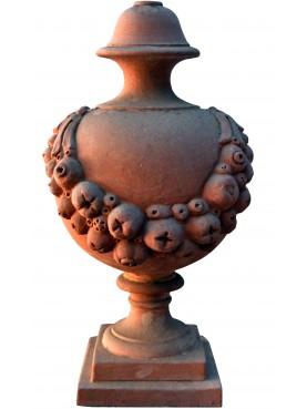 Vaso Robbiano globoso in terracotta dell'Impruneta con festoni