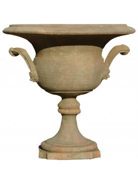 piccolo Calice ornamentale in terracotta con anse manici