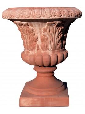 Vaso ornamentale in terracotta a foglie di acanthus