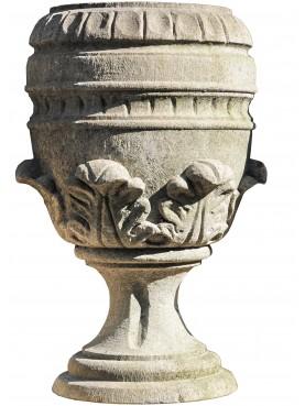Vaso pistoiese in pietra arenaria scolpito a mano coppia di due vasi