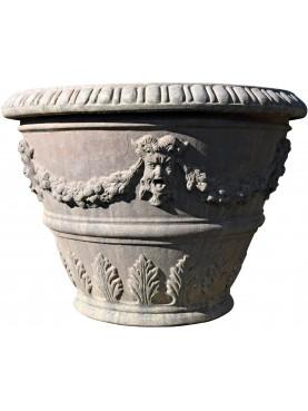 Vaso da Limoni con festoni da 105 cm terracotta Impruneta conca