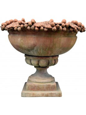 Terracotta vase cup pot with grapes calix