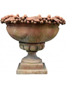 Terracotta vase cup pot with grapes calix