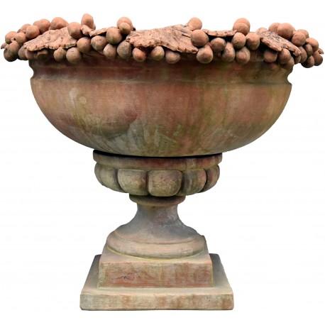 Vaso ornamentale con tralci d'uva CALICE terracotta