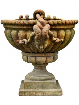 Vase with ram heads - terracotta Impruneta