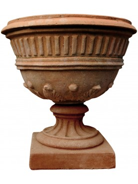 Vaso in terracotta a calice Liberty toscano