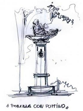 Fontanelle with birdbath - milan fountain cast-iron