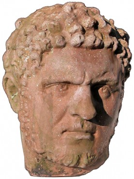 Testa in terracotta di Caracalla imperatore romano