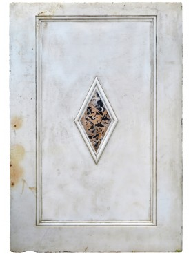 White marble panel with portoro inlayed