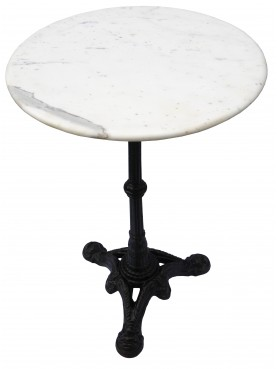 Tavolino Tondo Bistrot Marmo e Ghisa Gueridon
