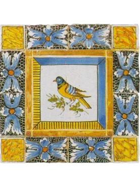 Uccellino di Caltagirone piastrella di maiolica - piccolo pannello