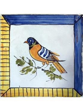 Caltagirone bird majolica tile