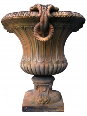 Terrcotta vase with rings - neoclassic ornamental calix