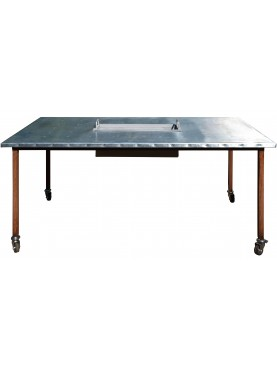 two Iron table with top covered with pure zinc sheet