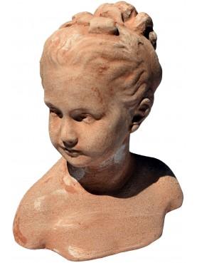 Piccolo busto in terracotta bambina francese