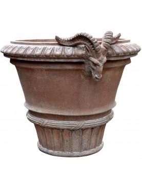 Tuscan Vase Ø52cms Impruneta flowerpot with Ram heads