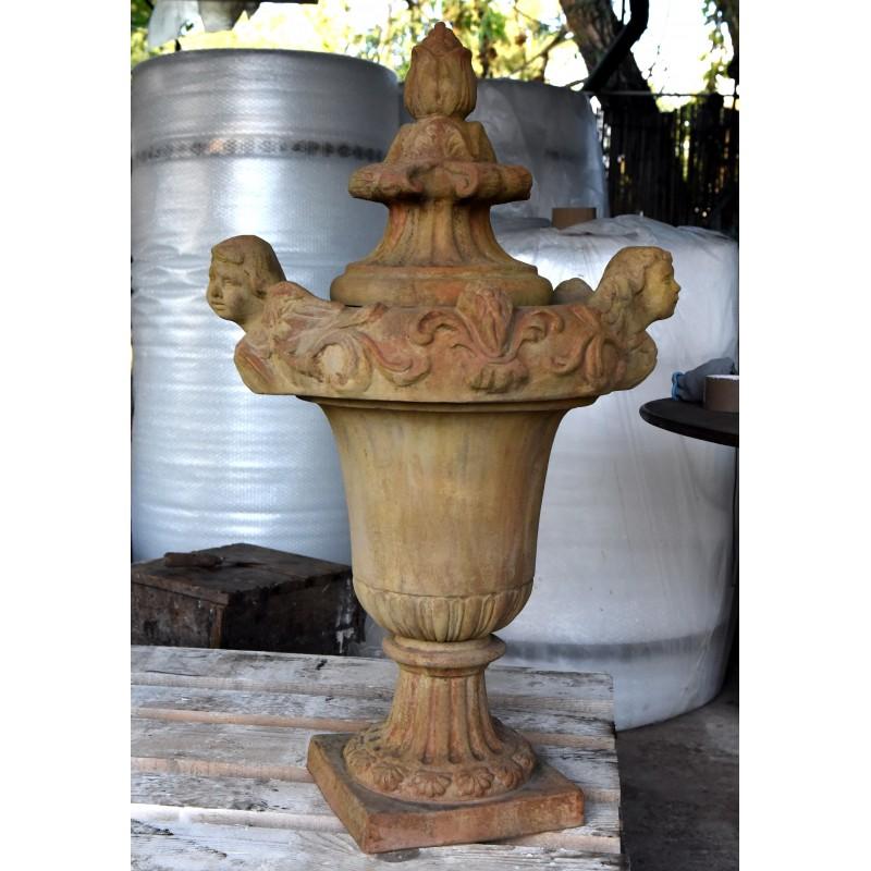 vaso da cancello con due putti versanti, tipico vaso ... - Toscano Arredo Bagno
