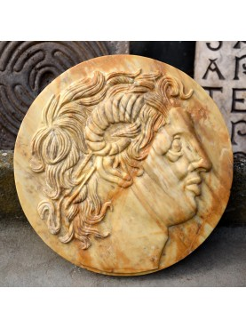 Alexander the great Ammon yellow Siena marble roundel